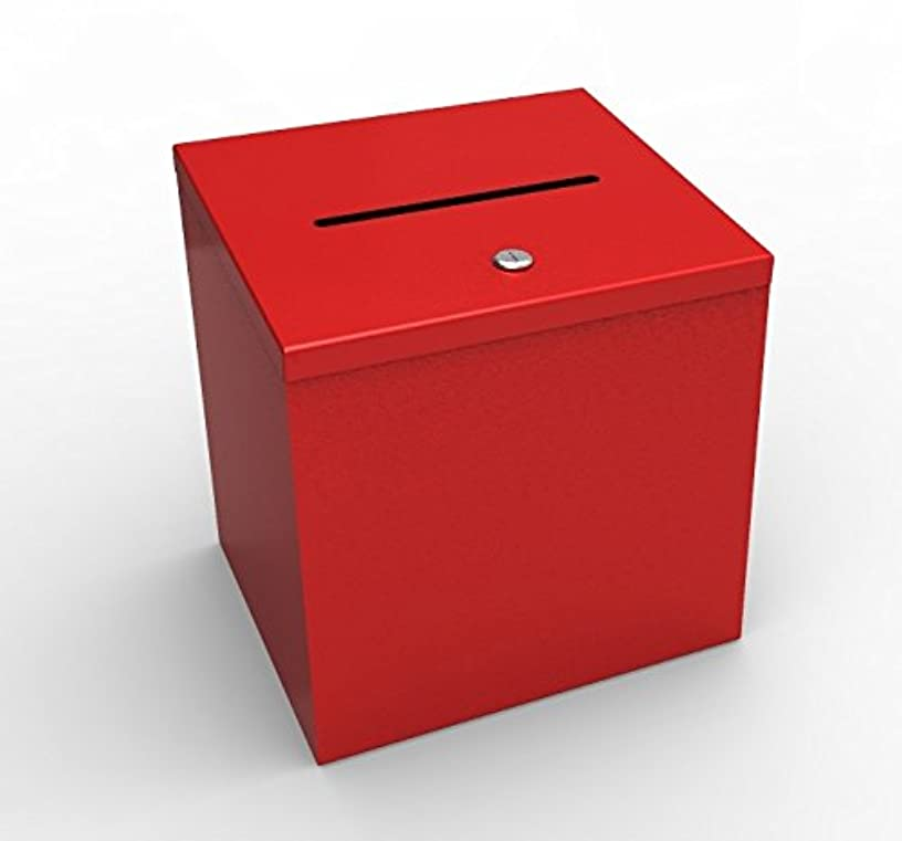 FixtureDisplays Box, Red Metal Donation Suggestion 9 x 9 x 9 10918 10918-RED