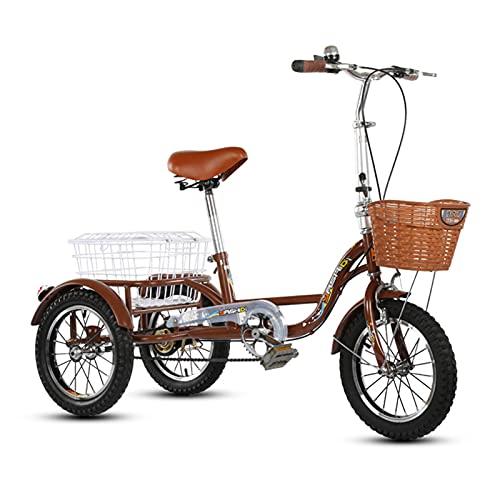 Adulto Triciclo A Pedales, Biplaza Crucero De La Bicicleta De 3 Ruedas Que Puede Transportar Personas, Triciclo De Una Velocidad De 14 Pulgadas Para Los Ancianos Con Cesta, Adecuado Para Los A