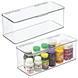 mDesign Juego de 2 cajas organizadoras para baño – Práctica caja con tapa...