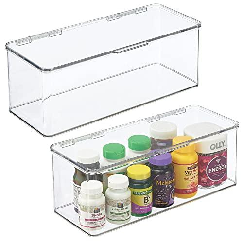 mDesign Juego de 2 cajas organizadoras para baño – Práctica caja con tapa para guardar medicamentos, artículos de aseo o productos de belleza – Organizador de baño apilable – transparente