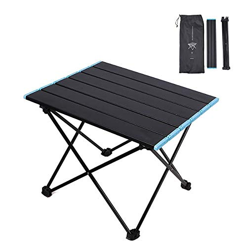 DJR Portable Camping Side Tables, Outdoor folding table, Aluminum Table Top Great for Camp, Picnic, Backpacks, Beach, Tailgate, Boat M