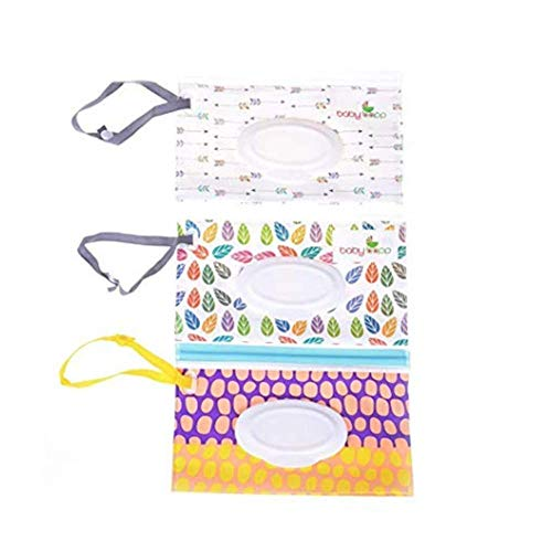 Iwinna 3 Pack Wet Wipe Pouch Reusable Wet Wipe Case Refillable Travel Wipe Pouch Dispenser for Baby or Personal Wipes, Perfect for Travel or Picnic - Random Pattern