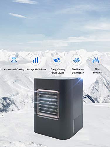 CAMPERS Mobile Klimaanlage Klein, 5 in 1 Klimagerät Ventilator Luftbefeuchter Luftreiniger Aromatherapie Luftsterilisator USB Mini PersöNlicher LuftküHler 3 Geschwindigkeiten füR Home Office Draussen