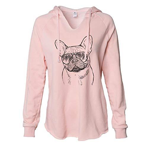 Inkopious Aviator Chew Chew The French Bulldog - Women's Cali Wave Hooded Sweatshirt - Blush Medium