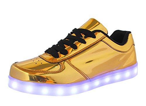 DELEY Unisex Mode Beiläufig Blinkende Turnschuhe USB-Lade LED Glitter Light Up Schuhe Größe 40 Gold