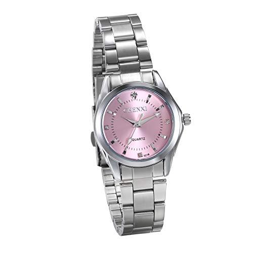 JewelryWe Damenuhren Elegant Silber Ton Edelstahl Armband Analog Quarz Business Casual Uhr Armbanduhr mit Pink Strass Zifferblatt