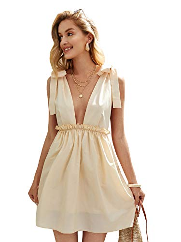 Romwe Women's Sleeveless Tie Shoulder Deep V Backless Flared Party Mini Skater Dress Apricot S