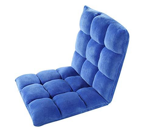 Iconic Home Lounge Adjustable Recliner Rocker Memory Foam Armless Floor Gaming Ergonomic Chair, Royal Blue