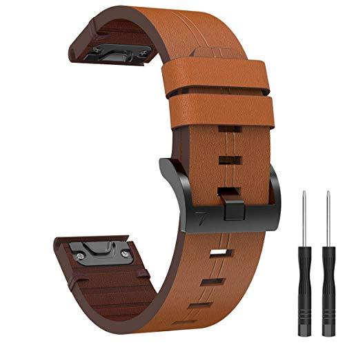 Syxinn Compatible con Fenix 6/Fenix 6 Pro/Fenix 5 Cuero Correa de Reloj, 22mm Banda de Genuino Cuero Deportiva Pulsera para Fenix 5/5 Plus/Approach S60/Quatix 5/Forerunner 935/945/Instinct Smart Watch