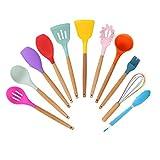 SXXYTCWL Utensilios de cocina Conjunto de silicona Color Cómodo mango de madera Non-palo Utensilios especiales de utensilios especiales para cocinar de cocina Alta temperatura resistente y fácil de li