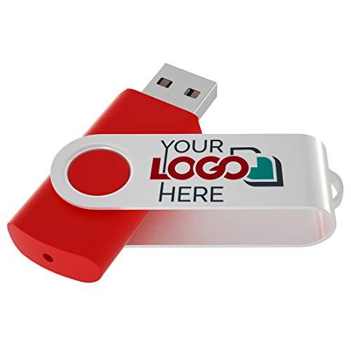 Possibox Memoria USB Giratoria Personalizada 32GB para Publicidad Pendrive con Logotipo/Texto - Promociónal por Mayor - USB 2.0 Rojo, 50 Piezas
