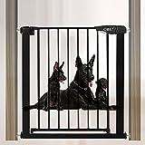 Metal Barrera de Seguridad de Nios Extending Barrera para Perros Auto Close Barandillas de Escaleras Vallas para Perros para Perros y BEB(61-68cm Negro