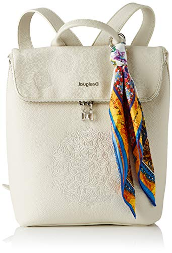 Desigual PU Backpack Medium, Zaino Medio Donna, Bianco