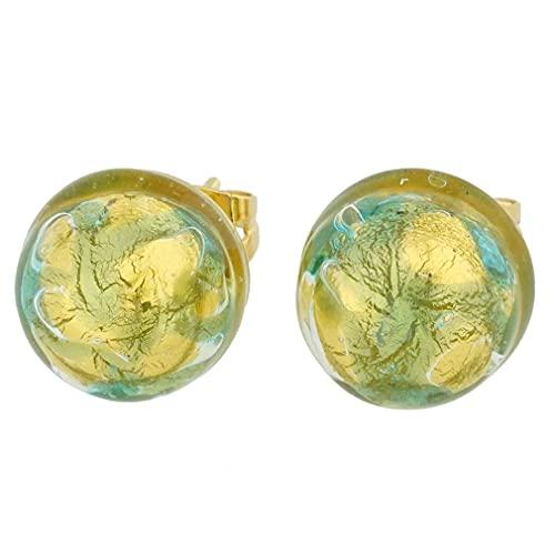 GlassOfVenice - Pendientes de botón de cristal de Murano, color azul