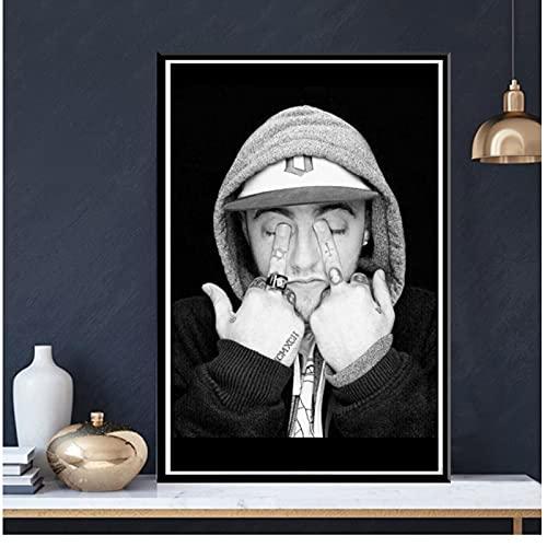 Vspgyf Impresiones de Carteles en Blanco y Negro Mac Miller Rapper Hip Hop Singer Star Wall Art Canvas Painting Cuadro de Pared para Sala de Estar Decoración para el hogar -50x70cmx1pcs -Sin Marco
