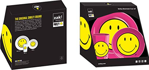 zak! designs 6662 Smiley - Vajilla infantil (3 piezas), melamina, fucsia, 22 x 9,5 x 22,5 cm