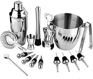 SKEIDO 16 Pcs Stainless Steel Barware Set Bartender Kit Includes Shaker Rack Spoon Pourer Straw Shaker Ice Tong Cocktail S...