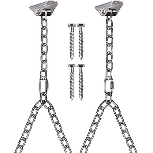 Besthouse Set of 2 Heavy Duty Porch Swing Hanging Chain Kit, Hammock Chair Hardware for Indoor Outdoor Playground Hanging Chair Hammock Chair Punching Bags, 4 Screws for Wooden, 1000LB Capacity, 81'
