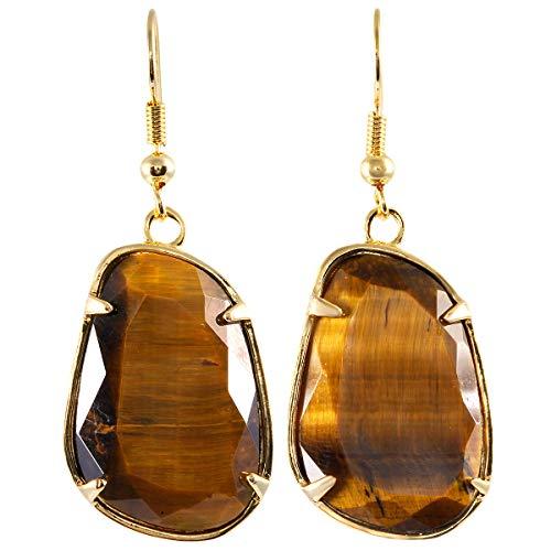 TUMBEELLUWA Healing Crystal Stone Dangle Earrings for Women Faceted Irregular Shape Drop Earrings, Tiger's Eye
