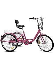 """3 koło rowerów 24""""7 prędkości dorosłych trike trójkołowy rower rowerowy pedał rowerowy z koszykiem,Purple"""