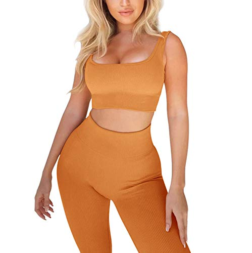 Beaufident Women's Workout Set Outfits Active 2 Pieces Ribbed Seamless Yoga Leggings with Paded Sports Bra Orange
