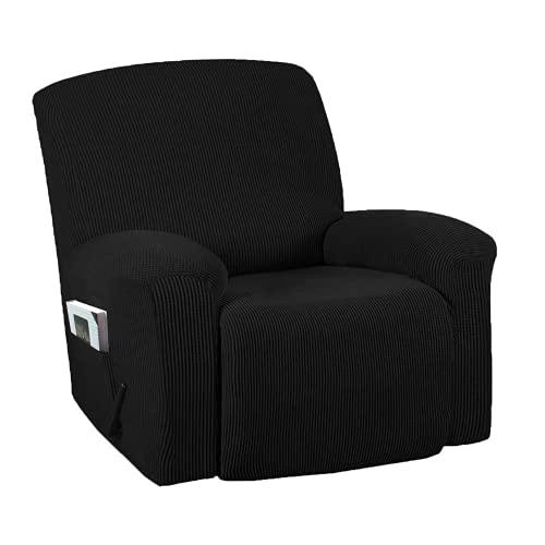 DWSM - Sofá de 1 plaza antideslizante para mascotas, extensible, grueso, reclinable, funda de sofá con bolsillo lateral antideslizante, lavable, funda de sillón (1)