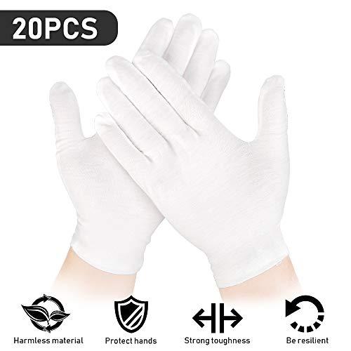 20 Stück (10 Paar) Baumwollhandschuhe Weiß, Weiße Handschuhe Baumwolle, Stoff Handschuhe Weiss für Schmuck Untersuchen, Tägliche Arbeit usw