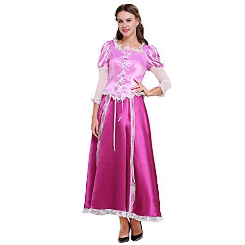 Fortunehouse Corona Princesa vestido de bola Rapunzel Cosplay Disfraz de adulto vestido de bola para Halloween
