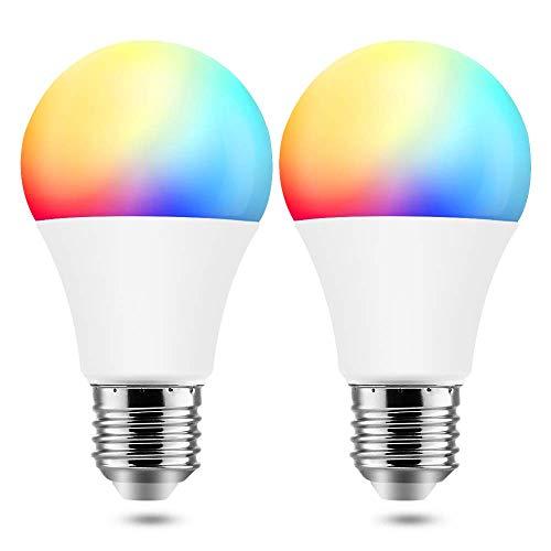 BrizLabs Bombilla Inteligente LED, E27 9W Bombilla WIFI Inteligente, Regulable 60W RGBW Equivalente 7,5W Compatible con Alexa, 16 Millones de Colores, Pack de 2 [Clase de Eficiencia Energética A]