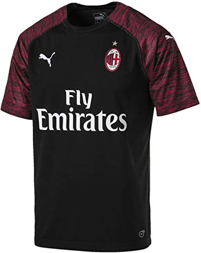 PUMA Men's AC Milan Third Shirt Replica SS with Sponsor Shirt, puma White/Chili Pepper, M