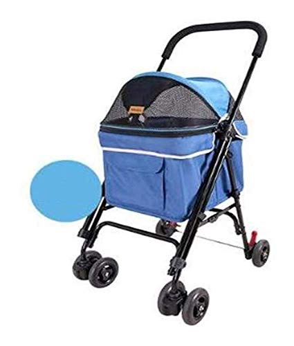 Pet Trolley, Dog Stroller Pet Stroller Travel Sunscreen Heatstroke Waterproof Dog Cat Trolley Foldable Suitable For All Kinds (Color : PINK) Firm