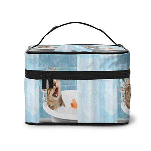 Cosmetic Bag Funny Cat Taking Bath with Toy Duck Large Makeup Bag Case Organizer Pouch Make Up Storage Travel Toiletry Bags
