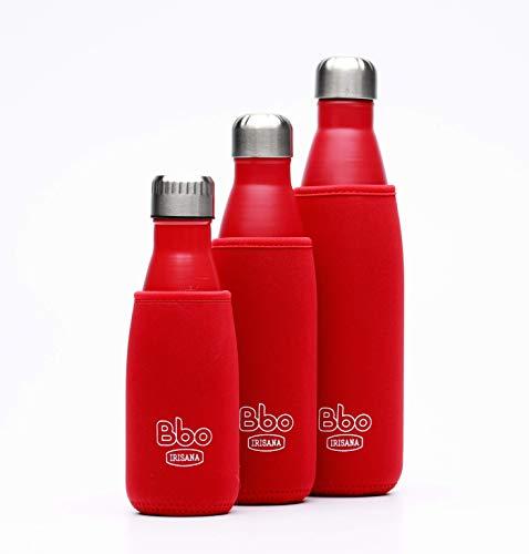 Irisana BBO Botella termo con funda, Rojo, 500 ml