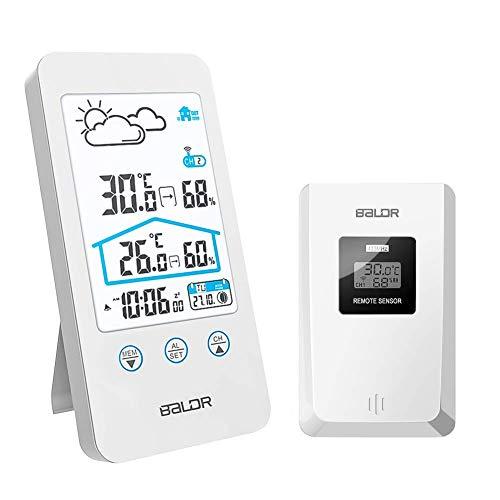 FLYLAND Estación meteorológica inalámbrica, Termómetro Digital inalámbrico para Interiores y Exteriores Barómetro...