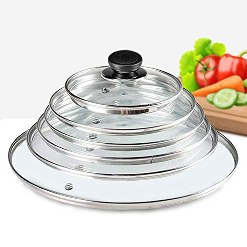 Maestro Craft Replacement Tempered Glass Pot Lid Vented Spare Saucepan Casserole Frying Pan (14CM, 16CM, 18CM, 20CM, 22CM, 24CM, 26CM, 28CM, 30CM, 32CM, 34CM, 36CM, 38CM, 40CM) (14CM)