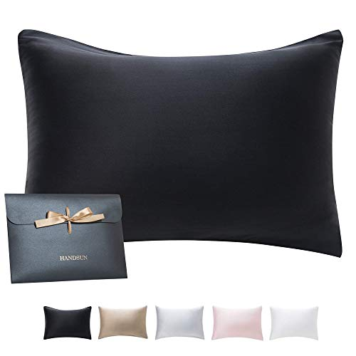HandSun Silk Pillowcase for Hair and Skin with Gift Package, 100% Natural Mulberry Silk Pillow Covers with Hidden Zipper Standard Size for Christmas
