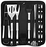 Webbox BBQ tools BBQ Grill Tool Set, 20pcs Stainless Steel BBQ Accessories in Carrying Bag, Barbecue Turners for Outdoor and Indoor, BBQ Grilling Tools Set for Friends Family