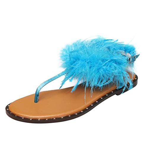LUDAY Fashion Furry Slide Sandals for Women, Teen Grils Casual Feather Leather Open Toe Flip-Flops Summer Beach Flat Sandals