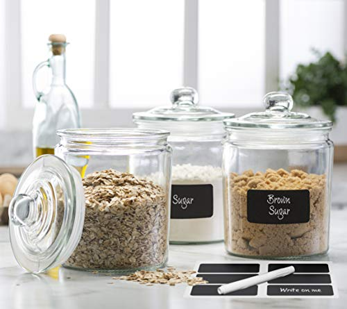 3pc Canister Sets for Kitchen Counter + Labels & Marker - Glass Cookie Jars with Airtight Lids - Food Storage Containers with Lids Airtight for Pantry - Flour, Sugar, Coffee, Cookies, etc.