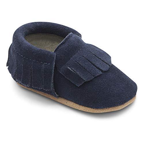 Dotty Fish Mokassins. Wildleder Babyschuhe mit weicher Sohle. rutschfest. Kinder Kleinkinder erste Schuhe. Jungen Mädchen. Marineblau. 12-18 Monate (21 EU)