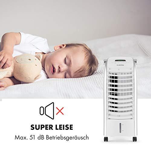 Klarstein Maxfresh WH Luftkühler-Ventilator-Kombination mit drei Leistungsstufen • niedriger Energieverbrauch • Bodenrollen • Lammellen-Schwenkfunktion • inkl. Fernbedienung und zwei Eis-Packs • weiß - 3