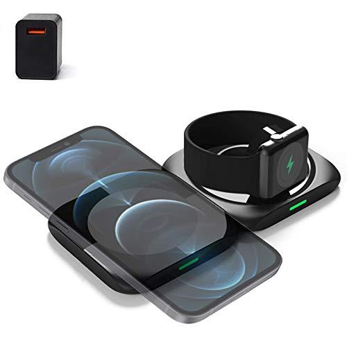 Estación de carga inalámbrica 3 en 1, cargador inalámbrico para Apple Watch Series / AirPods 2 / Pro, plataforma de carga inalámbrica magnética para iPhone 12 / Mini / Pro / Pro Max / 8/8 Plus