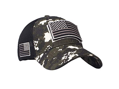 Anna-Kaci Camouflage Trucker Special Tactical Operator Forces USA Flag Patch Baseball Cap, Mountain camo, OneSize