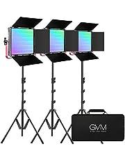 GVM RGB LED Video Light, 50W Video Lighting Kit with APP Control, 1200D Photography Lighting kit for YouTube Studio, 3 Packs Led Panel Light, 3200K-5600K, Aluminum Alloy Shell, CRI 97