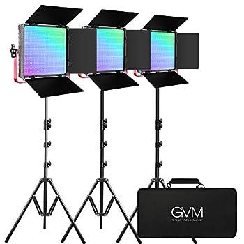 GVM RGB LED Video Light 50W Video Lighting Kit with APP Control 1200D Photography Lighting kit for YouTube Studio 3 Packs Led Panel Light 3200K-5600K Aluminum Alloy Shell CRI 97