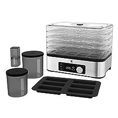 WMF Minis de cuisine Dörrautomat inox, séchage avec 5 compartiments, 30-70°C, minuterie 24h, sèche-fruits, déshydrateur, 2 boîtes, forme de barre de céréales, sans bpa