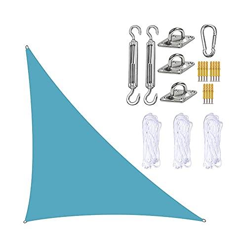 GNCCI Toldo Vela de Sombra Triangular 3 x 4X 5m,Protección UV Vela Solar en Poliéster con Kit de fijación Resistente, 3 Cuerdas, Patio Shack Toldo Vela Impermeable (Color : Lake Blue)