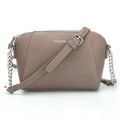 DAVIDJONES Damen PU Leder Crossbody Umhängetasche Sattel Handtaschen, (D.pink), Medium
