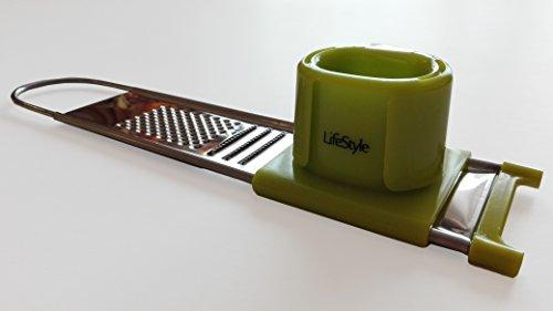 Life Style - Knoblauchhobel / Knoblauchschneider - Edelstahl - Grün