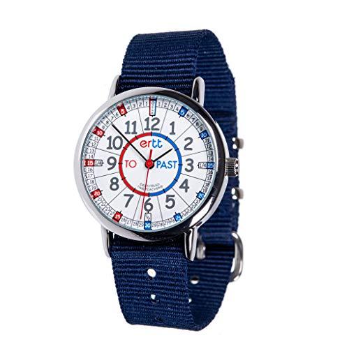 Easyread Time Teacher Armbanduhr ERW-RB-PT zum Uhrenlesen-Lernen, graues Armband, marineblau, 1
